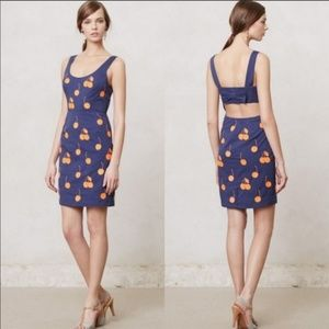 Anthropologie LeifNotes navy cherry dress